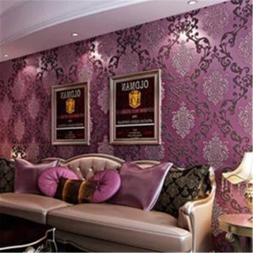 [Clearance] 10M Roll Damask Embossed Textured Wall Decor Luxury Purple  Wallpaper Livng Room ... Part 96